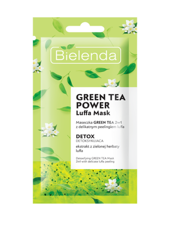 Bielenda Green Tea Powder Mask Luffa Mask With Peeling Detoxifying 8g