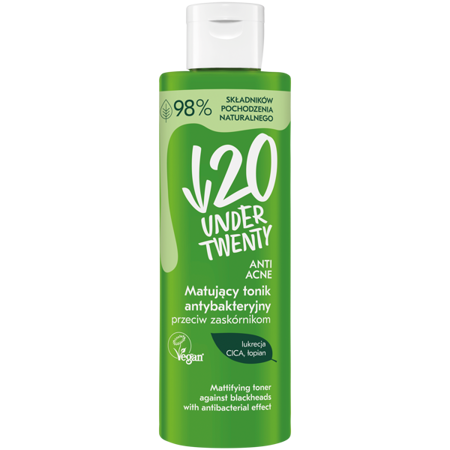 Under Twenty Mattifying Antibacterial Tonic Against Blackheads Vegan 200ml