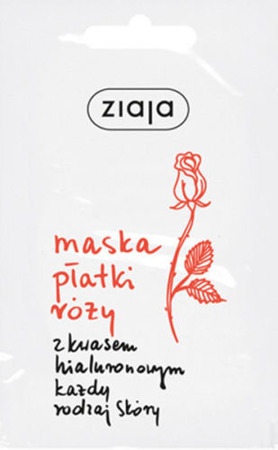 Ziaja Mask Rose Petals with Hyaluronic acid 7ml Maska Płatki Róży