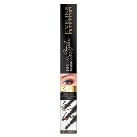 Eveline Brow Multifunction Styler Kredka Do Brwi 3w1 Dark Brown